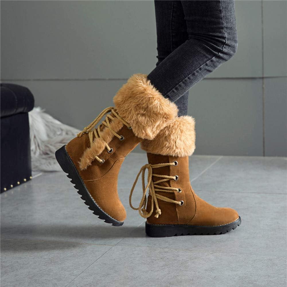 NBVCX Accessoires de Vie Chaussures pour Femmes Bottines Classiques Bottes de Neige pour Femmes Chaussures Plates d'hiver à la Mode Bottes Chaudes et poilues Brown