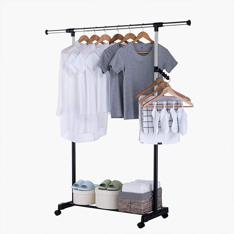 Standing Coat Racks Stainless-Steel Clothes Rack Household Hanger Living Room Bedroom with Wheel Coat Rack -0223 (color   Silver)