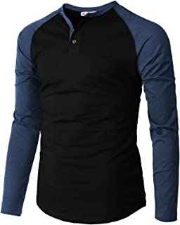 H2H Men's Casual Slim Fit Henley Shirt Long Sleeve Lightweight Cotton T-Shirts