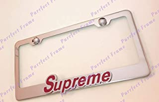 SUPREME White On Black Stainless Steel Black License Plate Frame Rust Free Caps