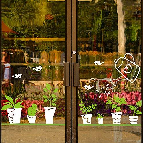 Abnehmbare Wohnzimmer Fensterbank rustikale Wandaufkleber Grünpflanze groß