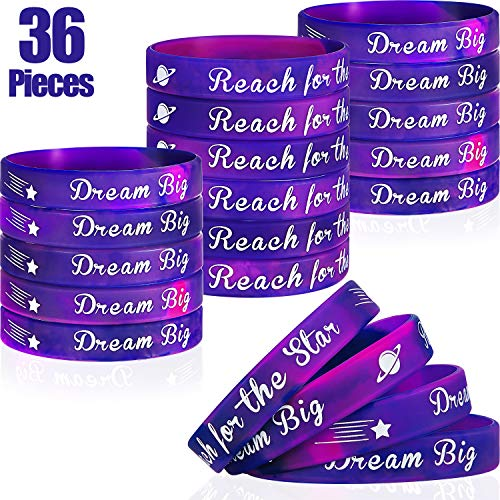 Galaxy Outer Space Theme Wristband Bracelets Silicone Bracelets for Birthday Party Supplies Favors School Gifts (36 Pieces)