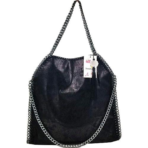 5031c2112313da Donalworld Women Chain Paillette Casual Tote PU Leather Shoulder Bag Purse
