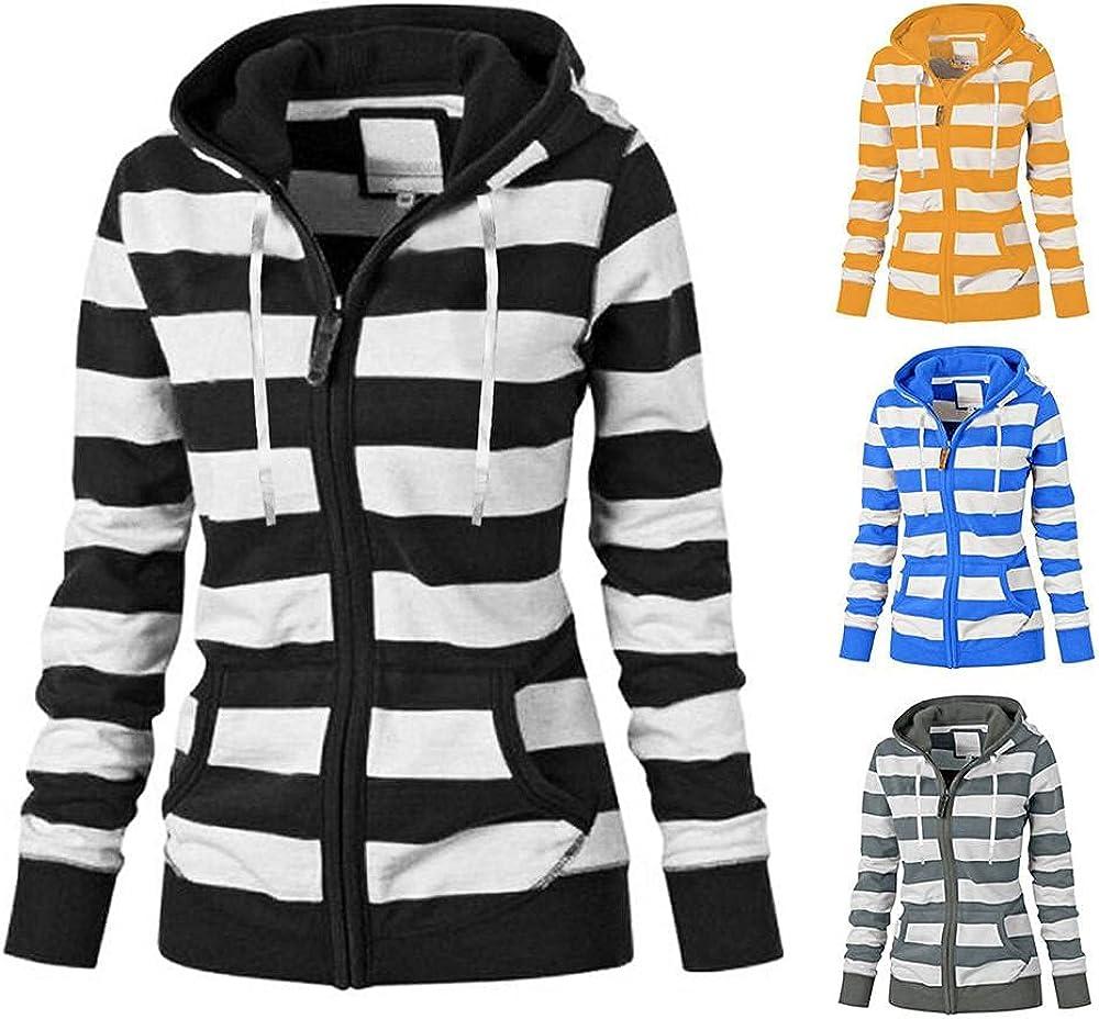 Womens Zip-Up Hoodie Long Sleeve Lightweight Print Pullo Ranking TOP18 Striped wholesale