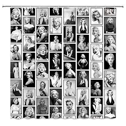 Lileihao Marilyn Monroe Duschvorhang, schöne Frauen, klassische Film-Stern-Spleiß-Fotos, Badezimmer-Dekoration, wasserdichtes Polyestergewebe, Heim-Badzubehör-Set, Gardinen, Set 175 x 177 cm mit Haken