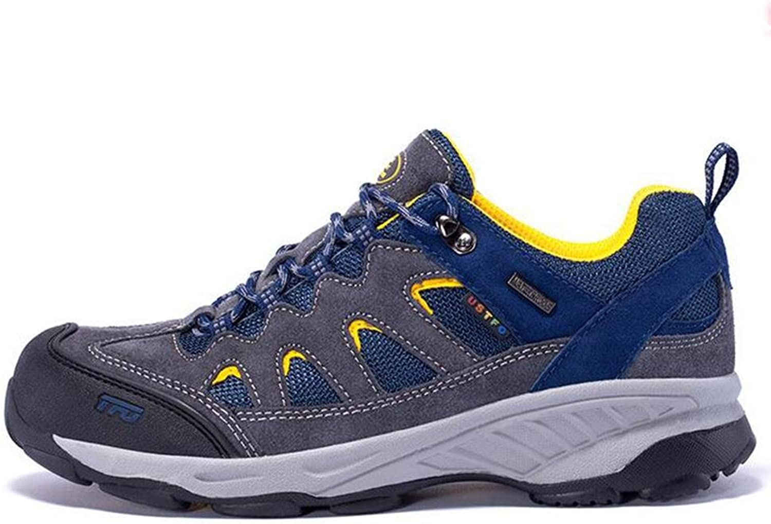 Mens Ladies waterproof breathable trekking shoes summer and autumn hiking shoes durable and non-slip , light bluee , 44