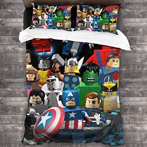 Juego de funda nórdica de 3 piezas de Lego Avengers (1 funda de edredón y 2 fundas de almohada) de microfibra