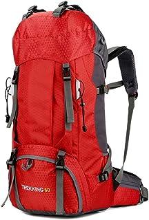 DorisAA Mochila de Senderismo Viajes Mochila con Cubierta de la Lluvia Aventura Camping Mochila Mochila Impermeable al Aire Libre Mochilas Multifunción (Color : Red, Size : 60L)