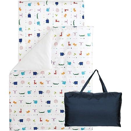 お昼寝 洗える布団 5点セット《Zoo》【日本製】 (赤ちゃん用 固綿敷ふとん, ネイビーバッグ)