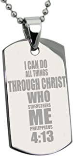 Tioneer Stainless Steel Philippians 4:13 Bible Verse Dog Tag Pendant Necklace