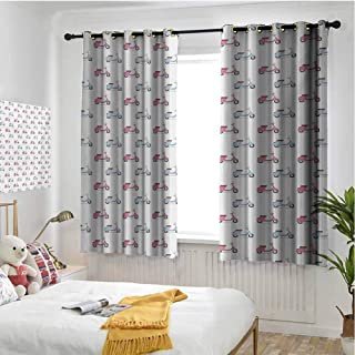 Motorcycle 100% blackout lining curtain Classic Pink and Blue Mopeds in Symmetrical Positions Retro Bike Ride Full shading treatment kitchen insulation curtain W63 x L72 Inch Pale Pink Baby Blue