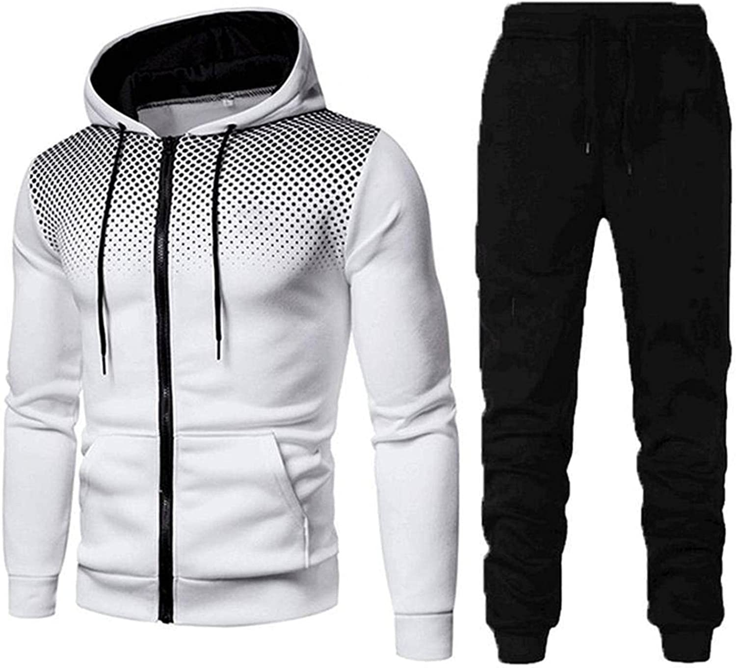 Mens Hooded 2 Piece Tracksuits Long Sleeve Drawstring Hoodie Tops Pants Set Big & Tall Athletic Sports Outfits