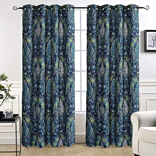 DriftAway Christopher Peacock Floral Pattern Energy Saving Thermal Insulated Blackout Window Curtain Grommet 2 Layers 2 Panels 52 Inch by 84 Inch Teal