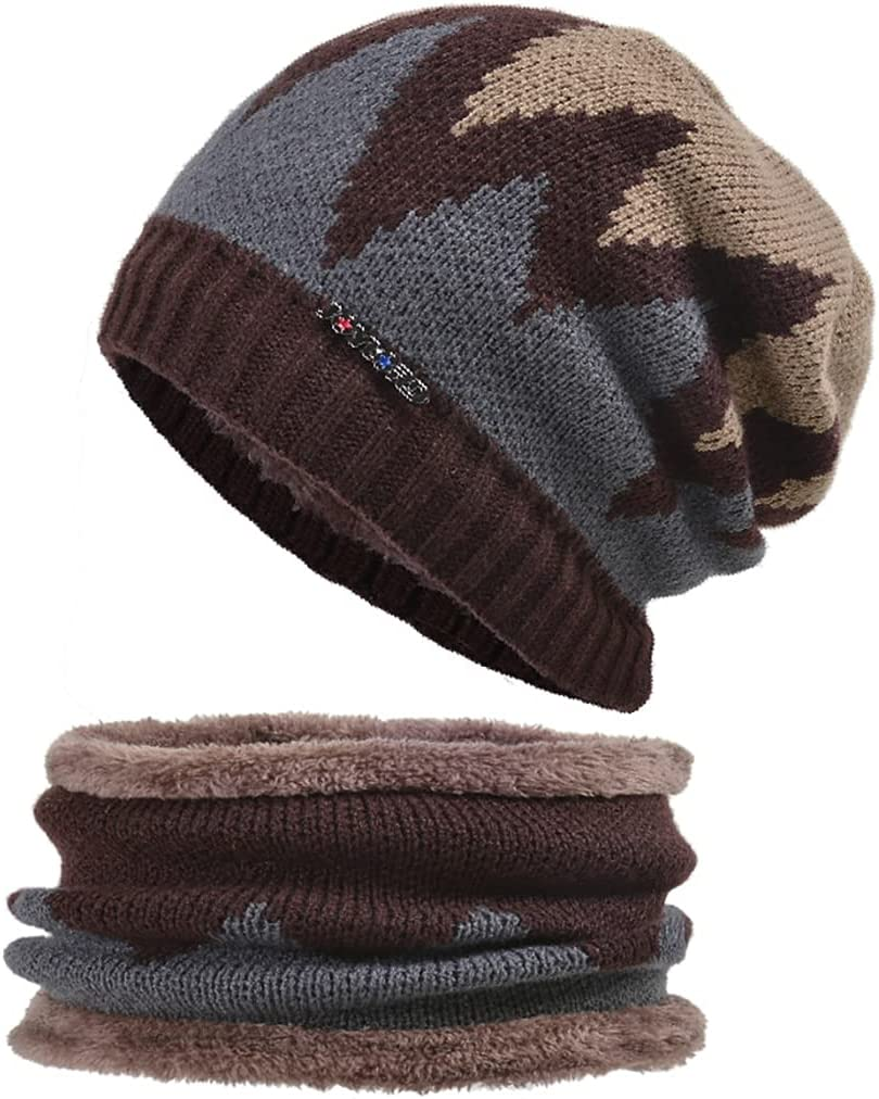 COSYOO Kids Knitted Cap Cozy Simple Thicken Soft Warm Beanie Hat with Infinity Scarf & Gloves