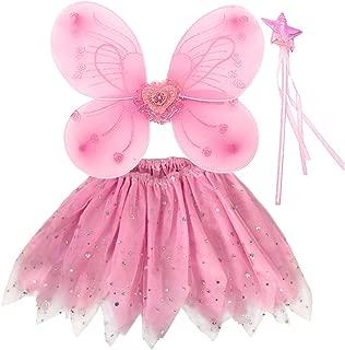 EQLEF Fee Kostüm Kinder, Tutu und Flügel Set Schmetterlingsflügel Fee Prinzessin Kostüm für Mädchen Party Kostüm