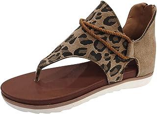kolila Women's Summer Sandals Casual Vintagenkle Walking Strap Size Casual Flip Flops Ladies Beach Flats Comfortable Shoes