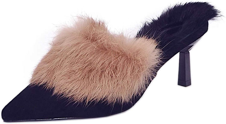 GTVERNH Woherrar skor    Half Slippers kvinnor Outwear Mode Point skor Slippers Muller skor Baotou  nya exklusiva high-end