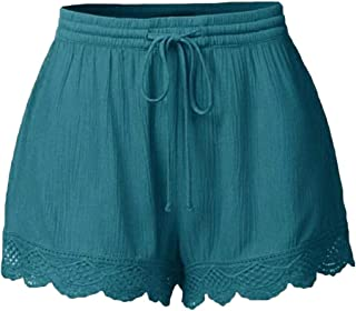 Women Fitness Trim Solid Elastic Waist Drawstring Shorts