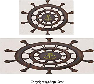All Weather Door Mats 2piece Suit,Wooden Steering Wheel of The Ship with Anchor Pattern History Antiques Rustic Decor 20