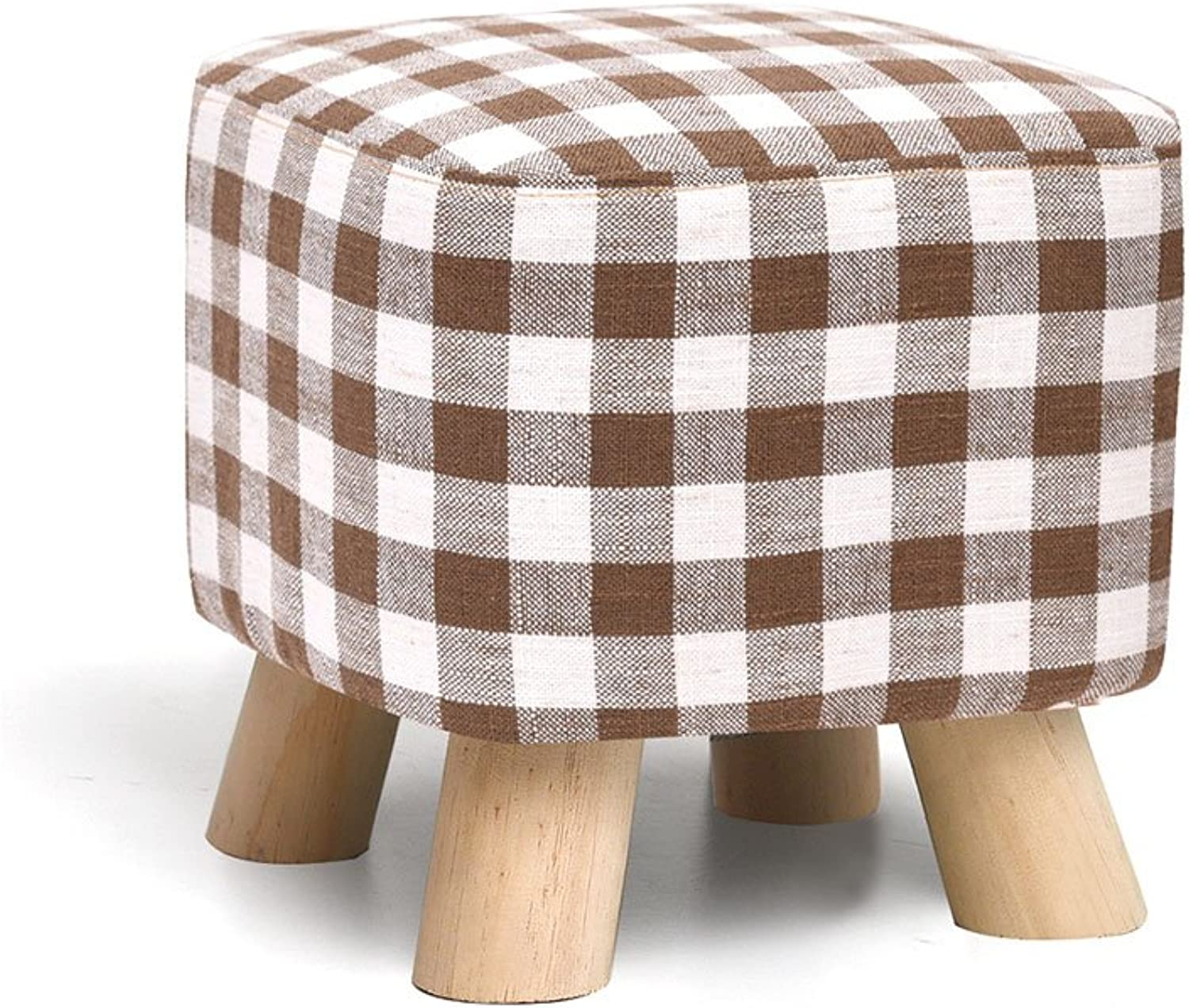 Creativity Square Stool Solid Wood shoes Bench Cloth Art Sofa Stool Coffee Table Bench Household Low Stool 4 Styles(28cmX25cm) Sturdy and Beautiful (color   C)