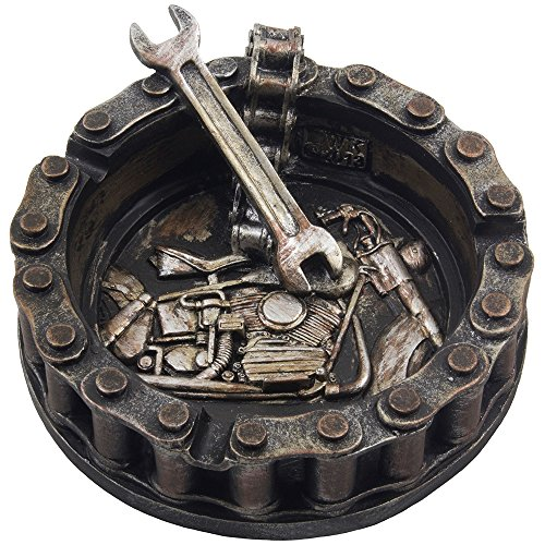 Decorative Motorcycle Chain Ashtray with Wrench and Bike Motif Great for a...
