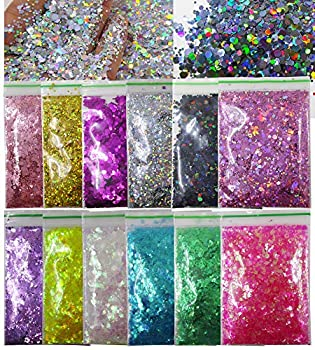 12 Colors Hexagon Chunky Glitter Crafts Sequins Holographic Gold Silver Black Mylar Pink Sparkles Nail Art Flakes for Resin/Makeup/Nail Tips