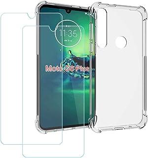 YZKJ Fodral för Motorola G8 Plus Cover hållbar silikon skyddande skydd TPU skal skal skal skal + 2 stycken pansarglas skär...