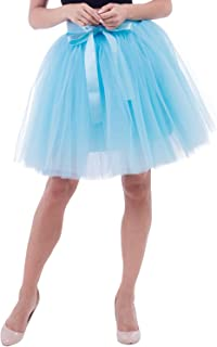 Women's Above Knee Skirt Tutu Petticoat High Waist Tulle