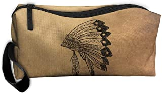 XJJPAN Native American Indian Headdress Makeup Bag Zipper Organizer Case Bag Cosmetic Bag Pencil Case Tool Kit Gift