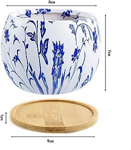 SUN-E Round Style Japonais série en céramique Pots Succulent Cactus Flower Pot Planteur Conteneur avec Plateau en Bambou Drainage Trou Cadeau Parfait Idée 3 en ENS l'ensemble (9 CM)