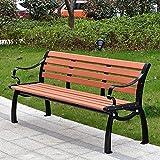 CDFC Banco de jardín con Respaldo, Banco Moderno de Ocio Simple para 2/3 Personas, Muebles de jardín de Madera Maciza anticorrosiva, Usados en Parques,Length: 120cm/ 3.93ft