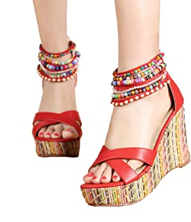 484901a2bb6 getmorebeauty Women s Wedge Sandals with Pearls Across The Top Platform  Sandals High Heels
