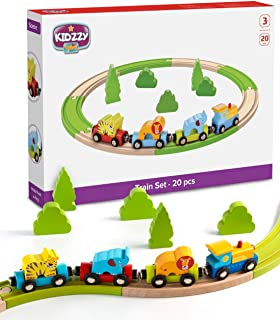 Wooden Train Set Toy for 2 - 3 Year Old Boys Best Toys Gift for Toddler Kids, Fun Magnetic Toy Trains with Wood Tracks (Zoo Train Set)