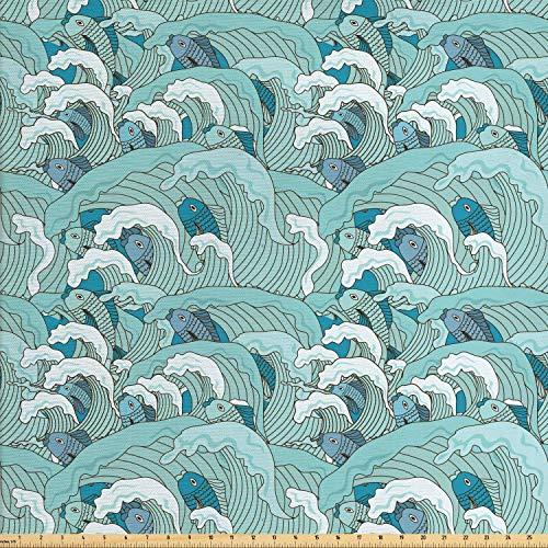 Juego de pegatinas decorativas para azulejos, olas de océano con dibujo de peces y composición de vida silvestre subacuática, azulado, pálido 20,3 x 20,3 cm, vinilo para azulejos de suelo, 12 unidades
