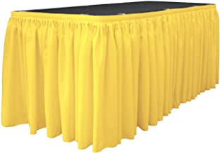 LA Linen Polyester Poplin Table Skirt 14 -Foot by 29-Inch Long with 10 L-Clips, Light Yellow