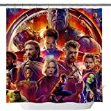 Iron Man Spiderman Hulk Raytheon Captain America Bad-Duschvorhänge, maßgeschneidert, maschinenwaschbar, wasserdicht, Polyester-Stoff, 3D-Badezimmervorhang-Set mit Haken, 180,3 x 180,3 cm