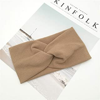 Hair band Headband Cross Top Knot Elastic Hair Bands Soft Solid Girls Hair Accessories Twisted Knotted Headwrap MJZCUICAN (Color : Khaki, Size : Free)