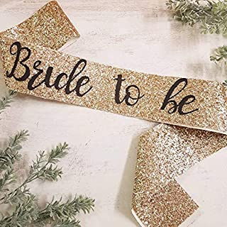 Party Propz Bride To Be Satin Sash Black Letters with Golden Glitter for Bridal Shower and Bride Photobooth
