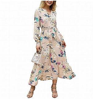 with Belt Women's V-Neck Long Sleeve Floral Printed Dress (Color : Khaki, Size : L)