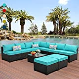 10 Pieces Patio Sectional Furniture Set Outdoor Wicker Conversation Sofa Couch with Turquoise Non-Slip Cushions Furniture Cover Black PE Rattan