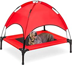 ASUNXL Dog Cot with Canopy Elevated Pet Bed with Canopy Raised Dog Pet Bed Tent Indoor Outdoor Bed Portable Camping Beach ...