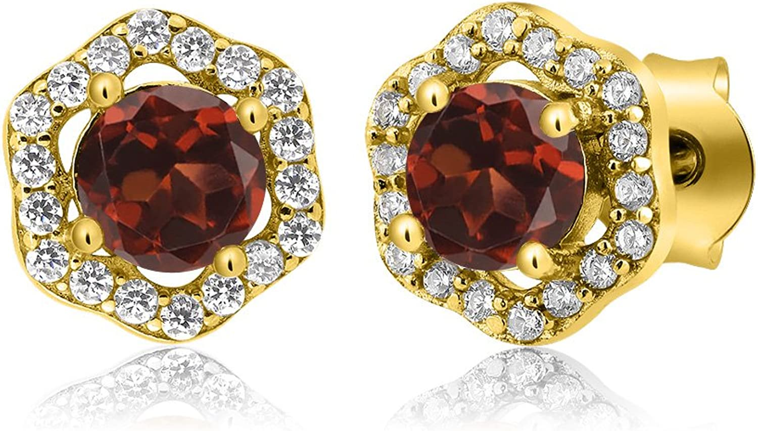 1.32 Ct Round Red Garnet 18K Yellow gold Plated Silver Earrings