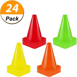 [ 24 Pack ] 7 Inch Plastic Traffic Cones Sport Training Cone Sets Field Marker Cones for Skate Soccer Agility Training & Festive Events Physical Education Flexible