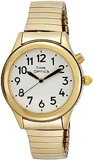 TimeOptics Women's Talking Gold-Tone Day Date Alarm Expansion Bracelet Watch # GWC08GT