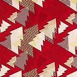 Baumwollstoff Weihnachten grafische Tannenbäume rot -