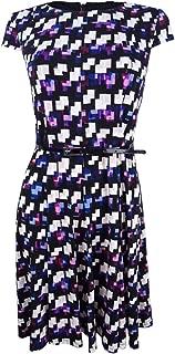 Women's Belted Geo-Print Dress