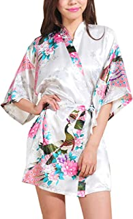 Lovacely Women's Satin Kimono Robe for Bride Bridesmaid Short Robes with Peacock and Blossoms Printed Nightgown Dressing Gown