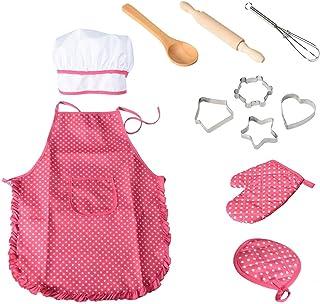 NIWWIN Chef Set Delantales para niños, 11 Piezas para niños, Cocina, Cocina, horneado a Prueba de Agua para Regalo de niña
