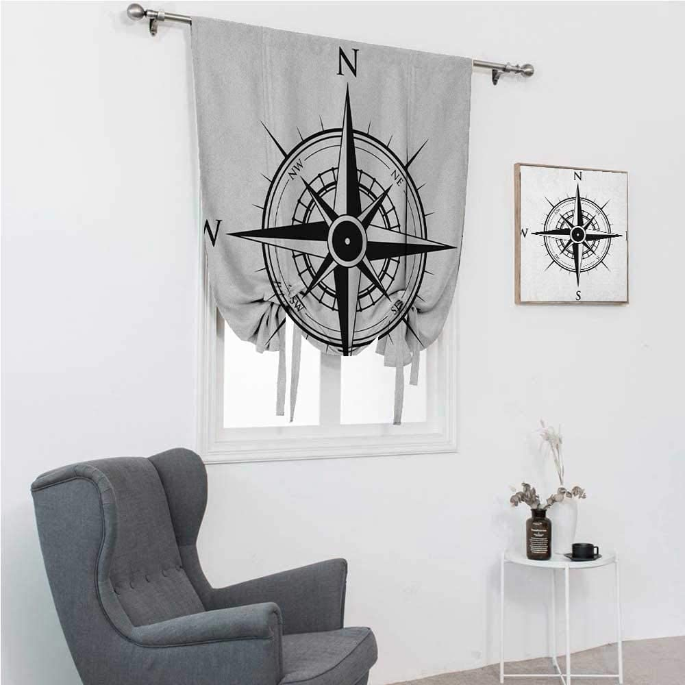 GugeABC Blackout Curtains Compass Roman Window Shades for Window