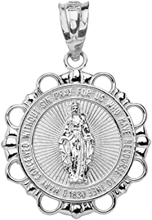 925 Sterling Silver Miraculous Medal Of Blessed Virgin Mary Round Pendant